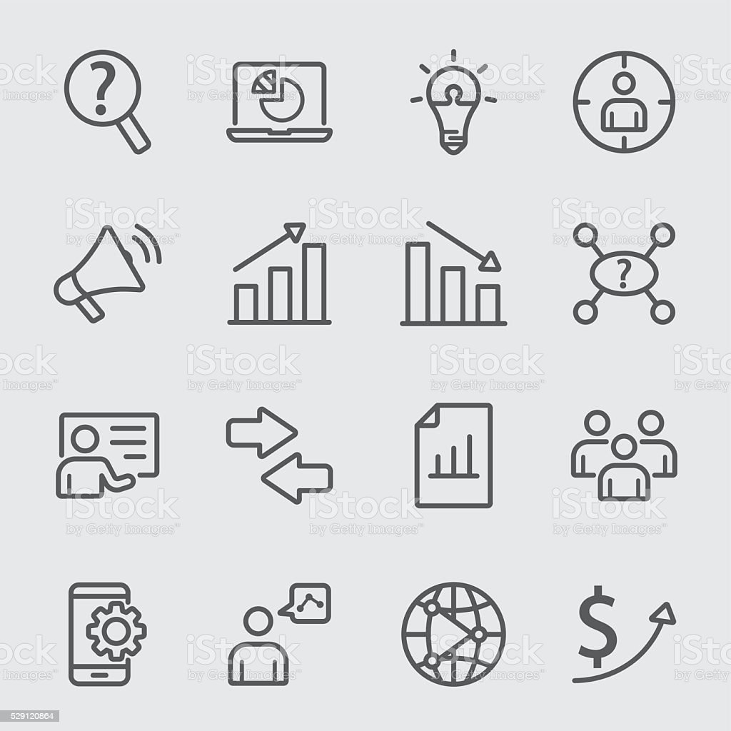 Business marketing line icon vector art illustration