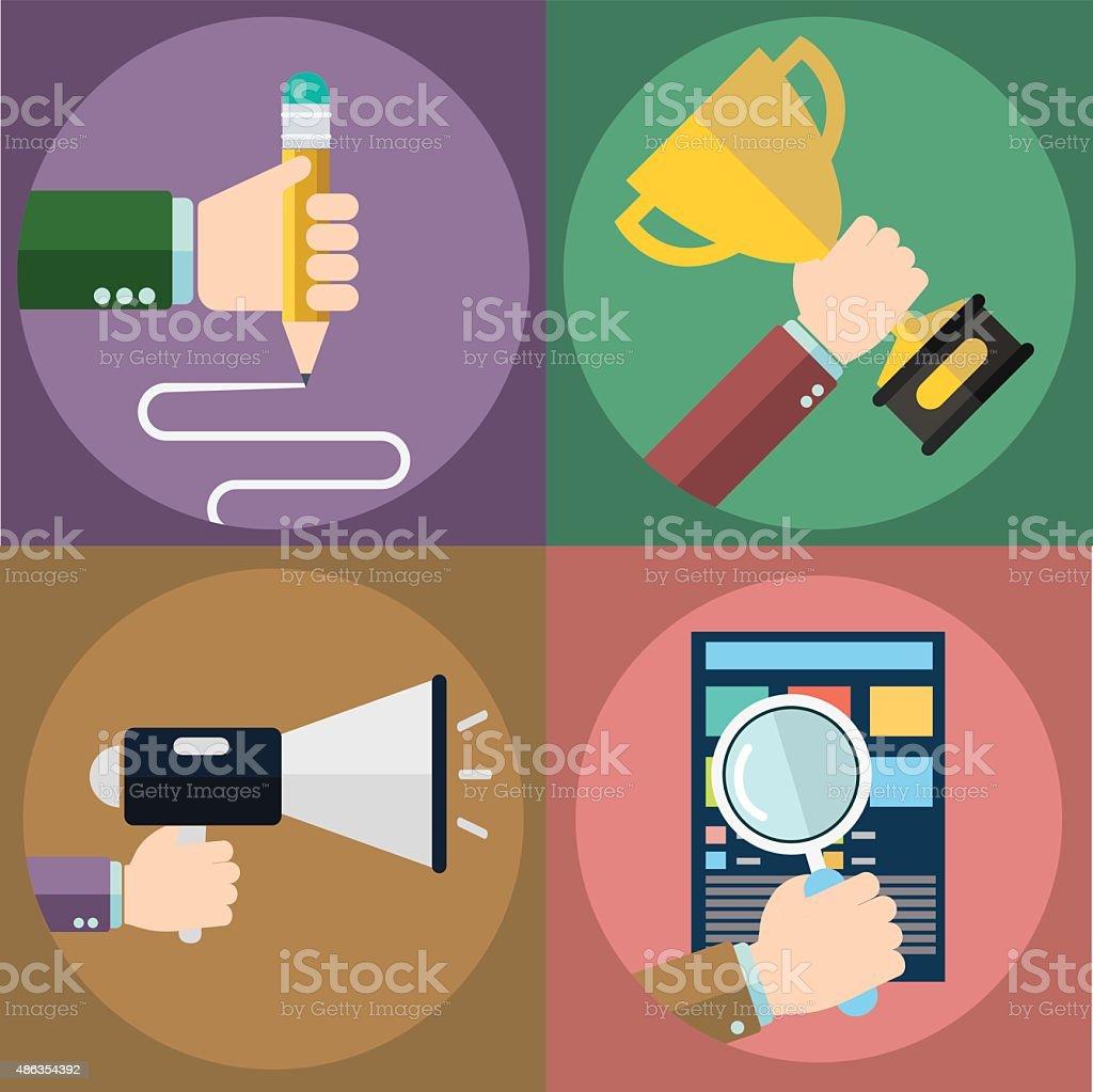 Business, marketing, success, seo and education. vector art illustration