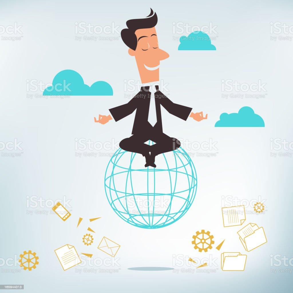 Business Meditation vector art illustration