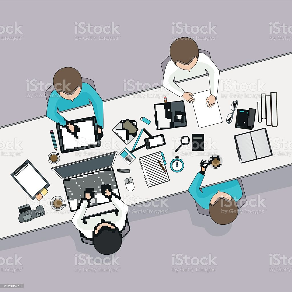 Business meeting and brainstorming. Flat design. vector art illustration