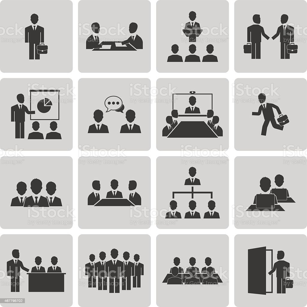 Business meeting and conference icons set vector art illustration