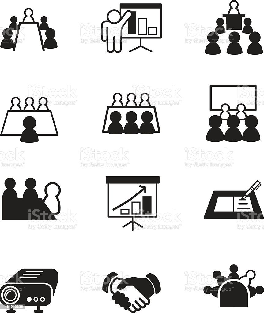 business meeting and Conference icons vector art illustration