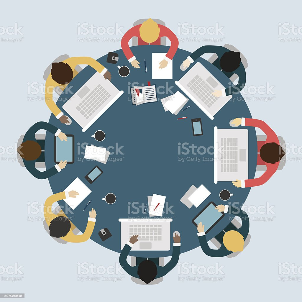 Business meeting, brainstorming in flat style. vector art illustration