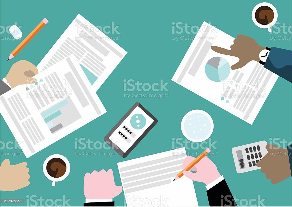 Business meeting concept seen from above with team working togehter vector art illustration