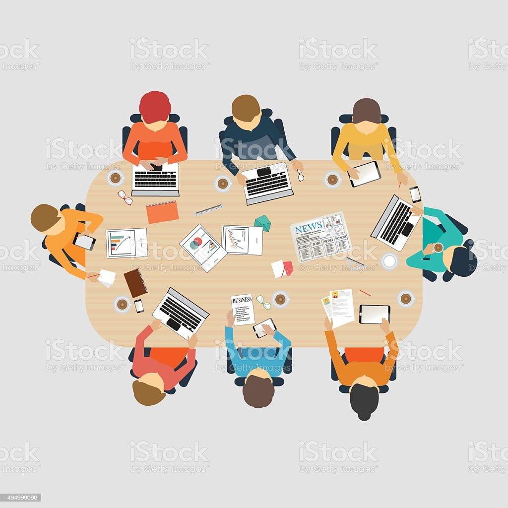 Business meeting design. vector art illustration