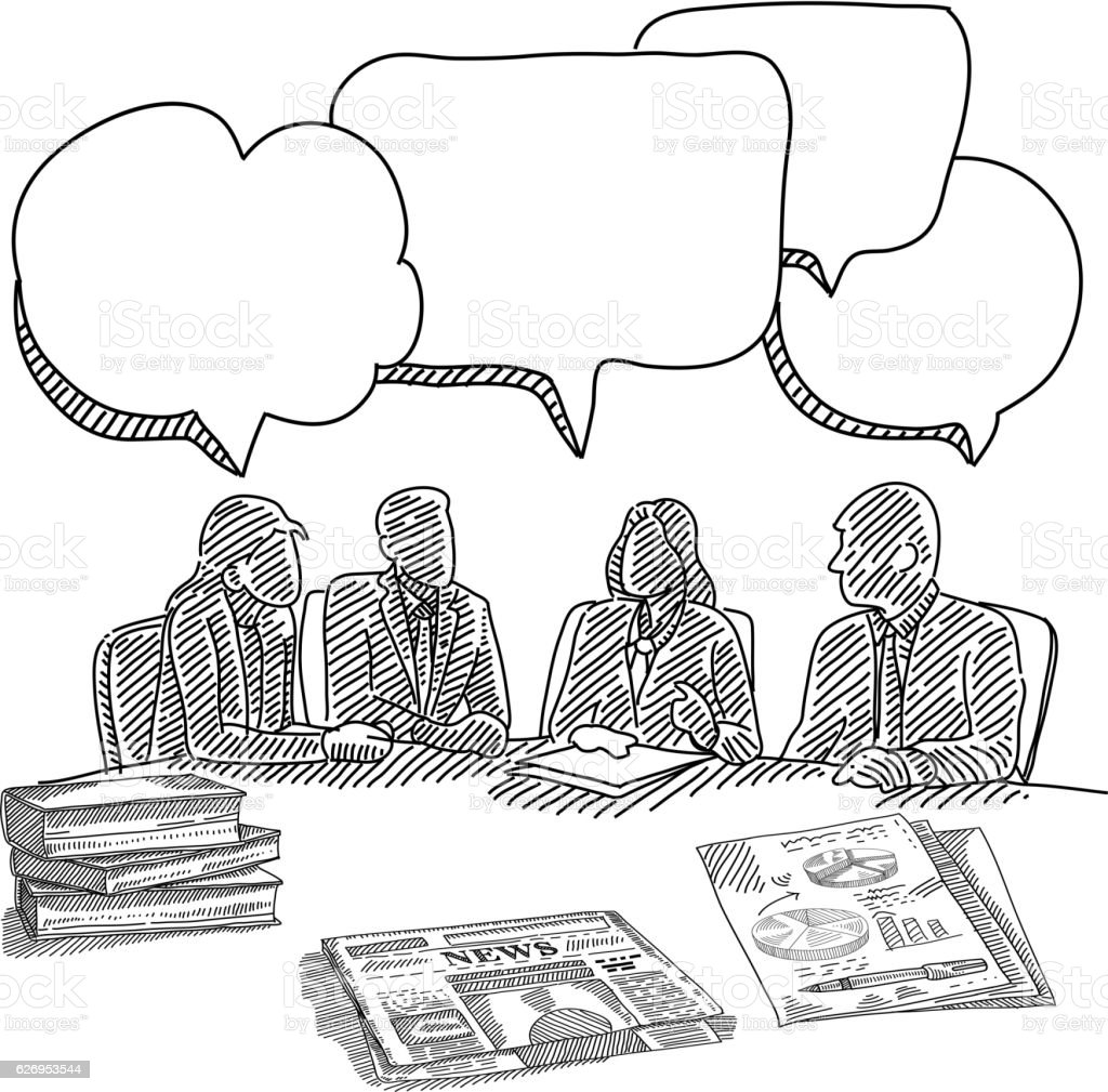 Business meeting Drawing vector art illustration