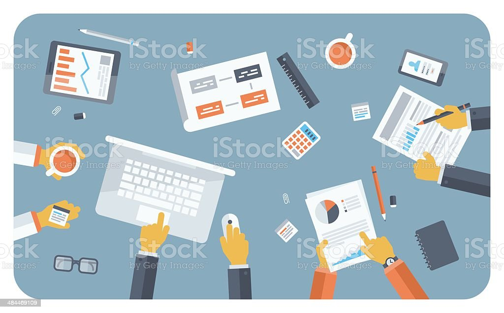 Business meeting flat illustration concept vector art illustration