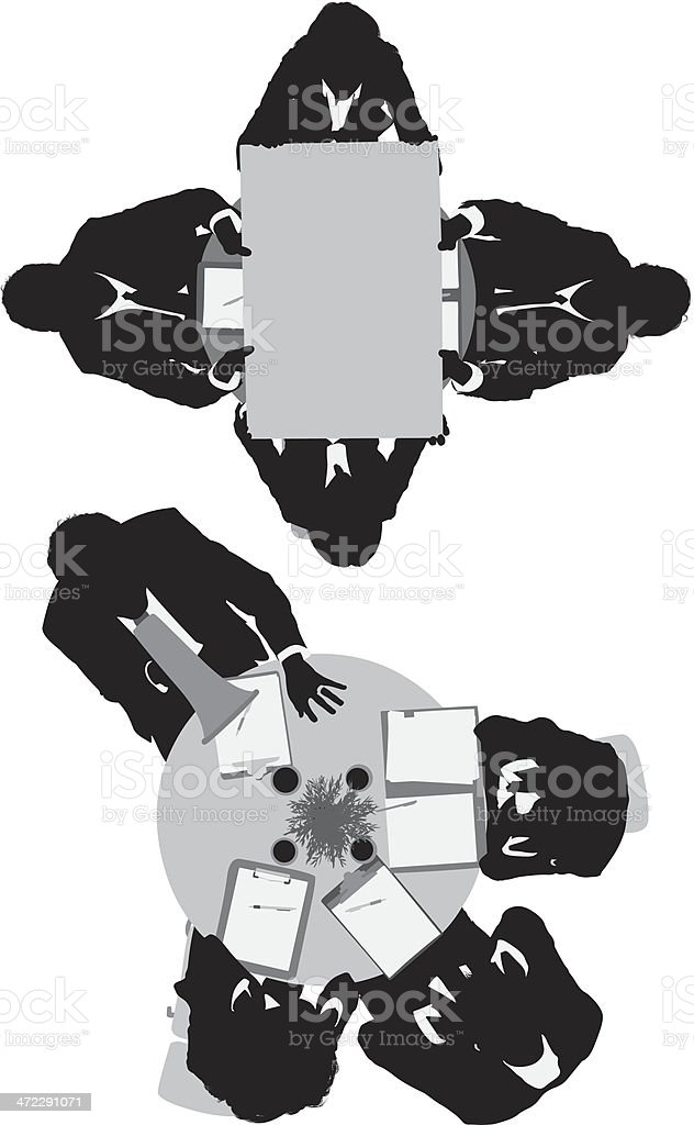 Business meeting from above royalty-free stock vector art
