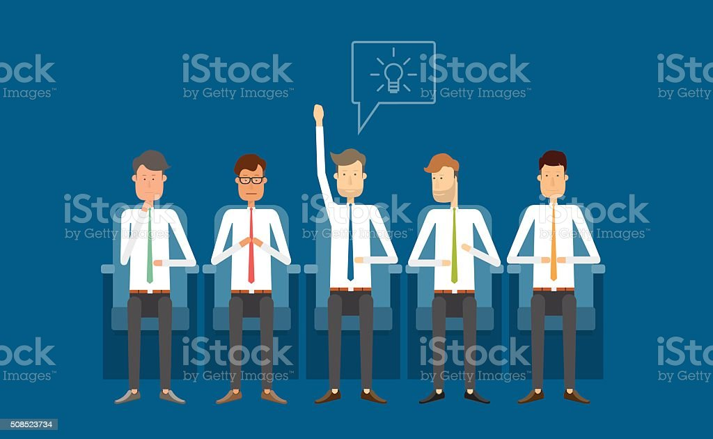 business meeting group people.business thinking.business cartoon character. vector art illustration
