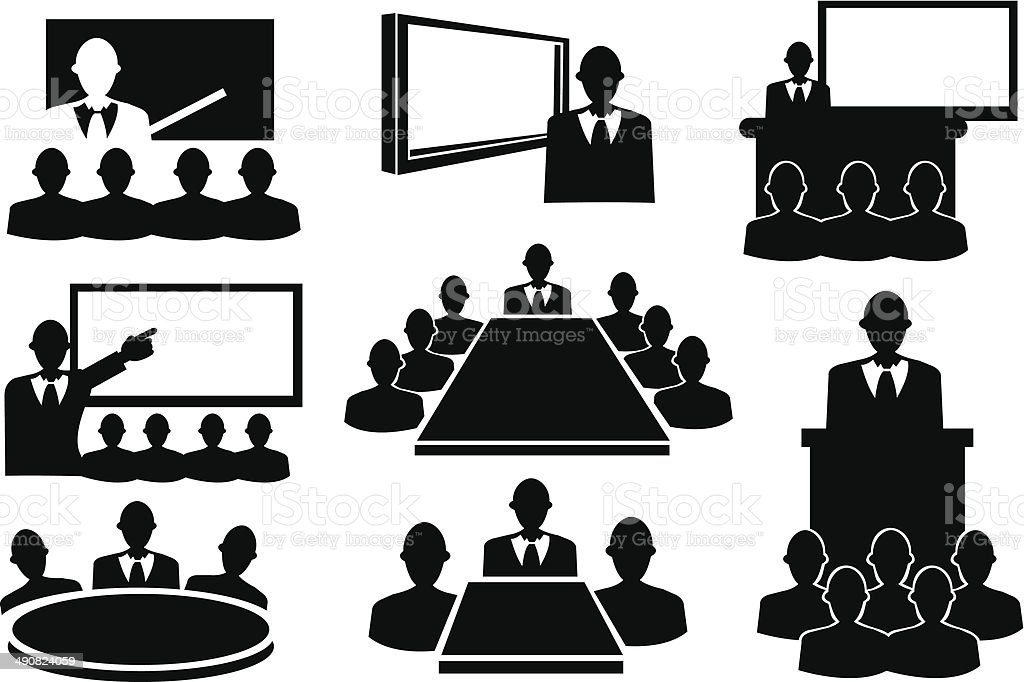 Business Meeting Icon Set vector art illustration