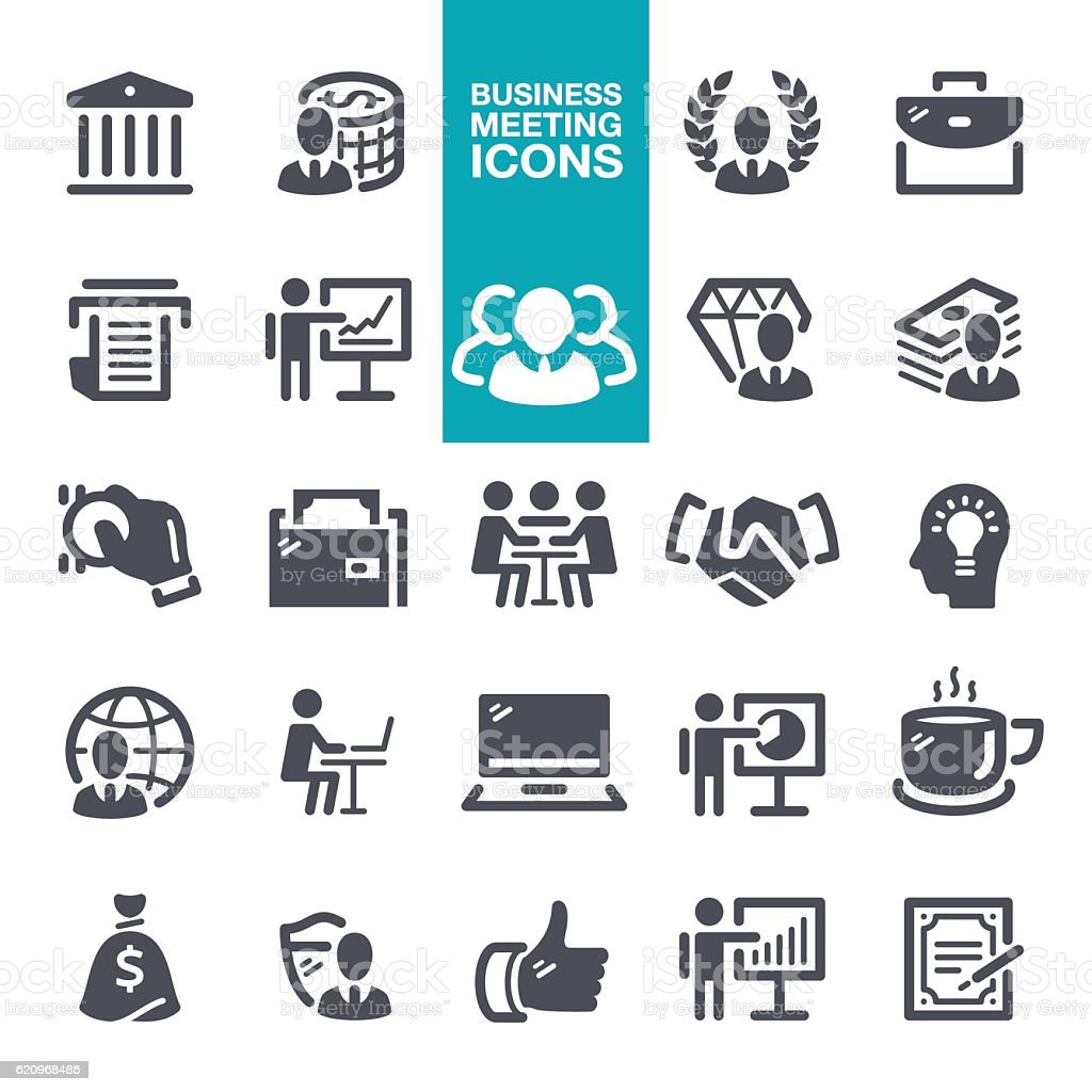 Business meeting icons vector art illustration