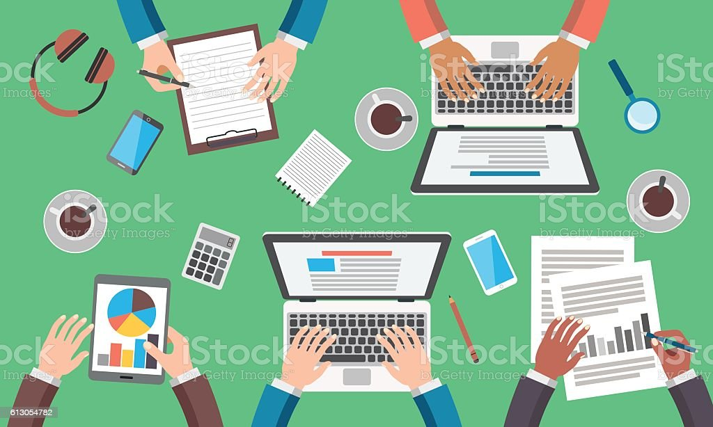 Business Meeting In Office vector art illustration