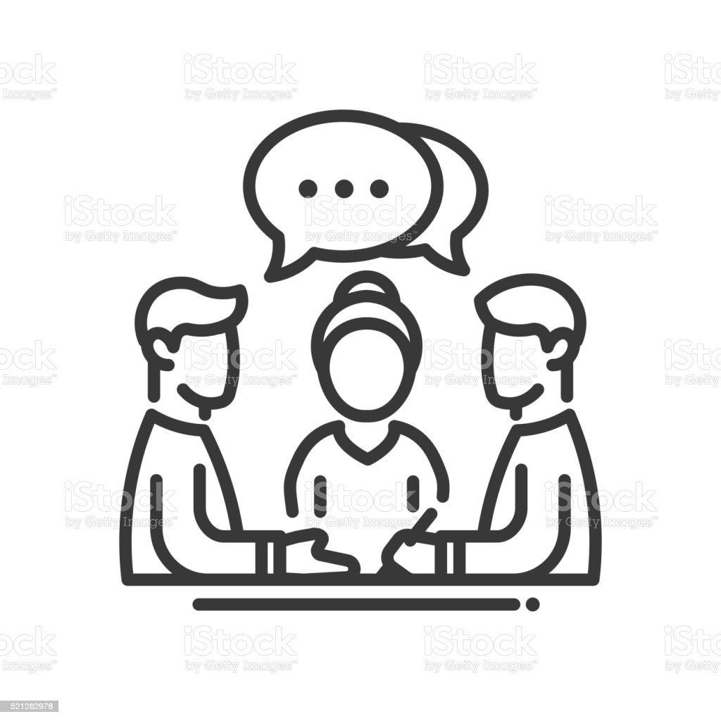 Business meeting single icon vector art illustration