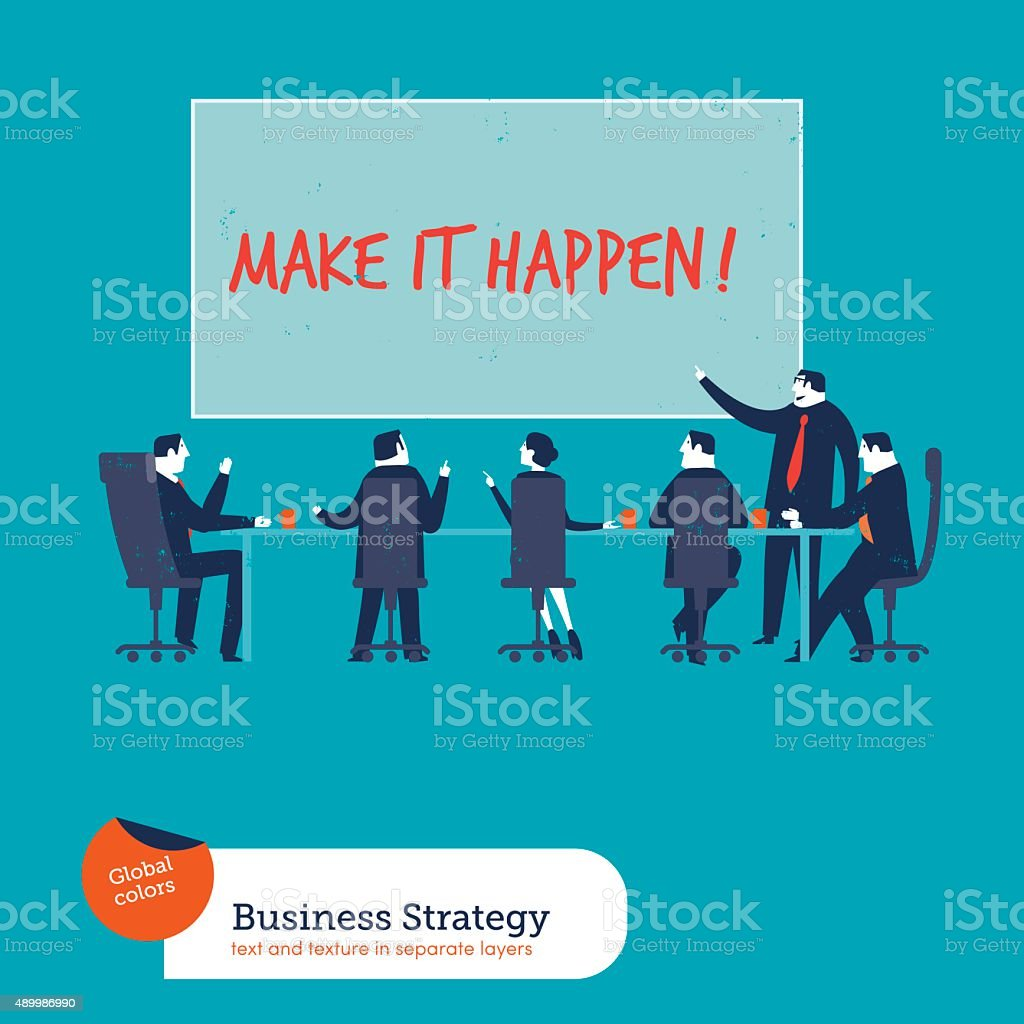 Business meeting with chart make it happen vector art illustration