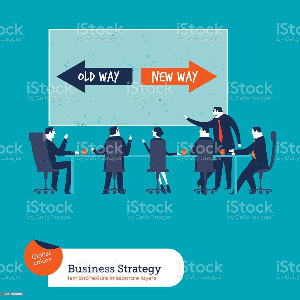 Business meeting with chart old way new way vector art illustration