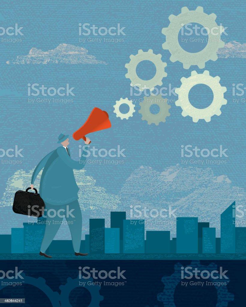 Business megaphone announcement concept royalty-free stock vector art