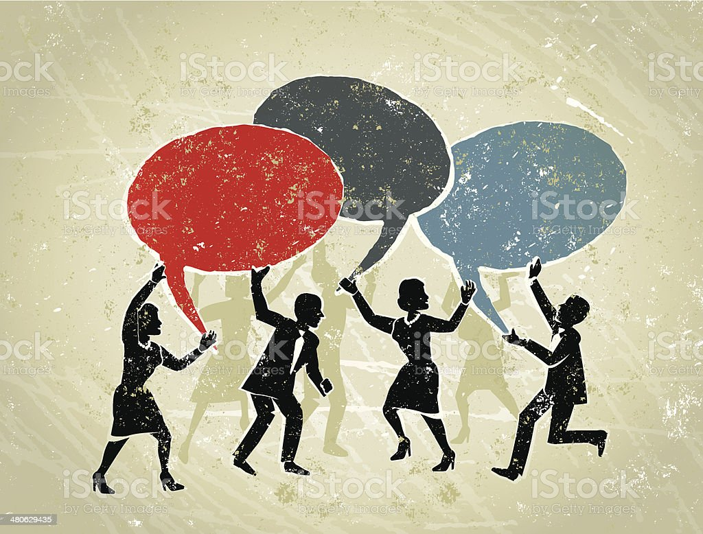 Business Men and Women Holding Speech Bubbles vector art illustration