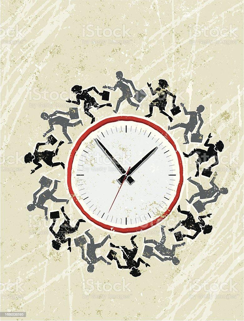 Business Men and Women Running Around a Clock royalty-free stock vector art