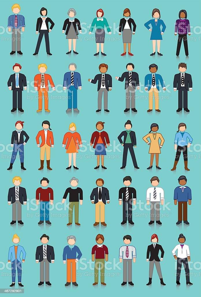 Business Men and Women vector art illustration