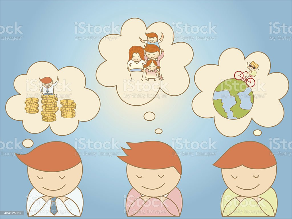 business men dreaming about life goal royalty-free stock vector art