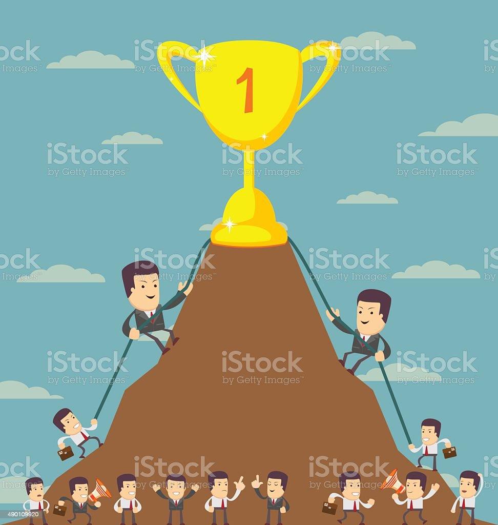 Business Men in Career Race vector art illustration