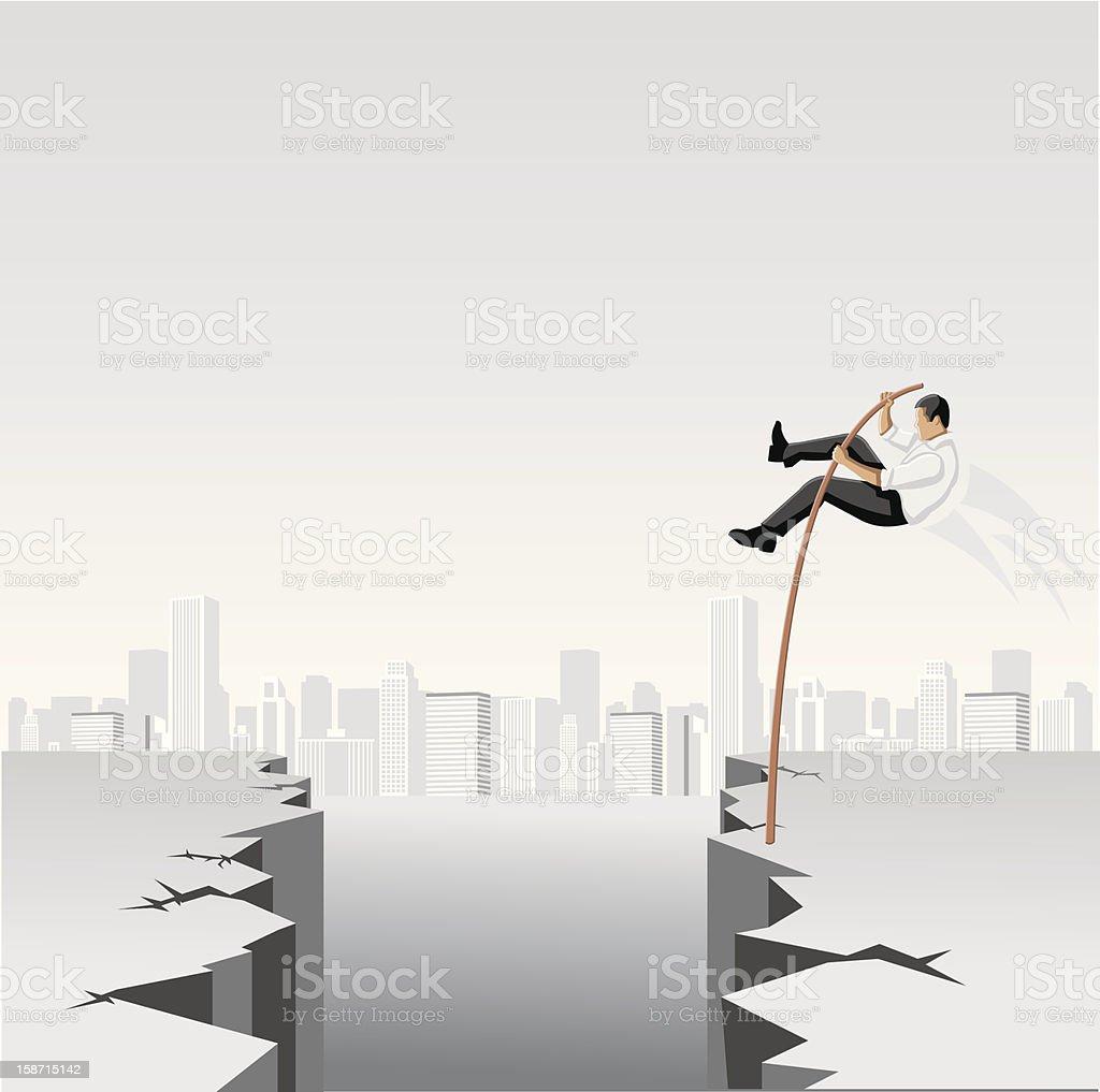 Business men jumping over abyss vector art illustration