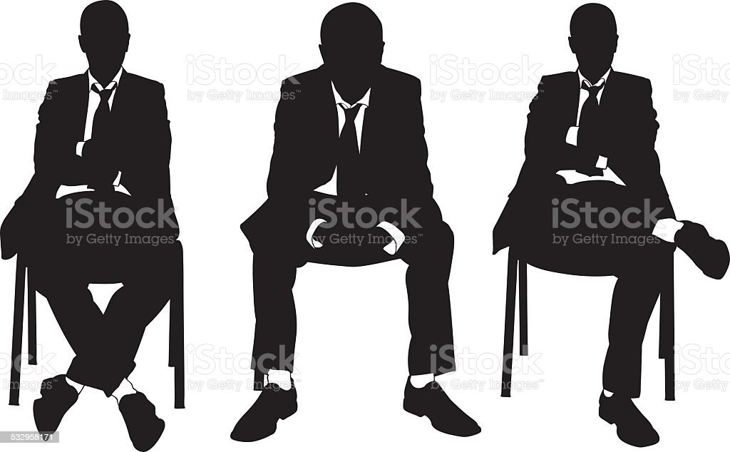business men on chair vector art illustration
