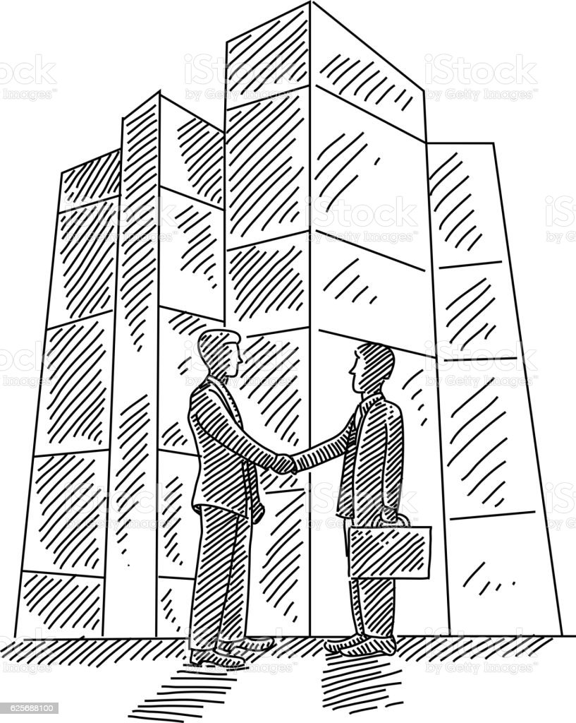 Business men Shaking hands Drawing vector art illustration