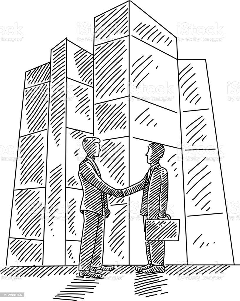 Business men Shaking hands Drawing vector art illustration