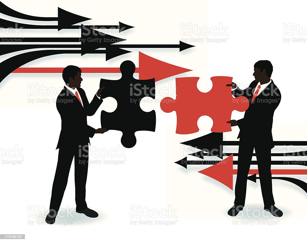 Business Men Solving Puzzle royalty-free stock vector art