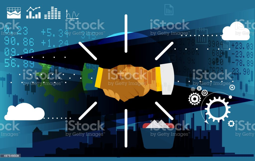 Business Merger - Abstract vector art illustration