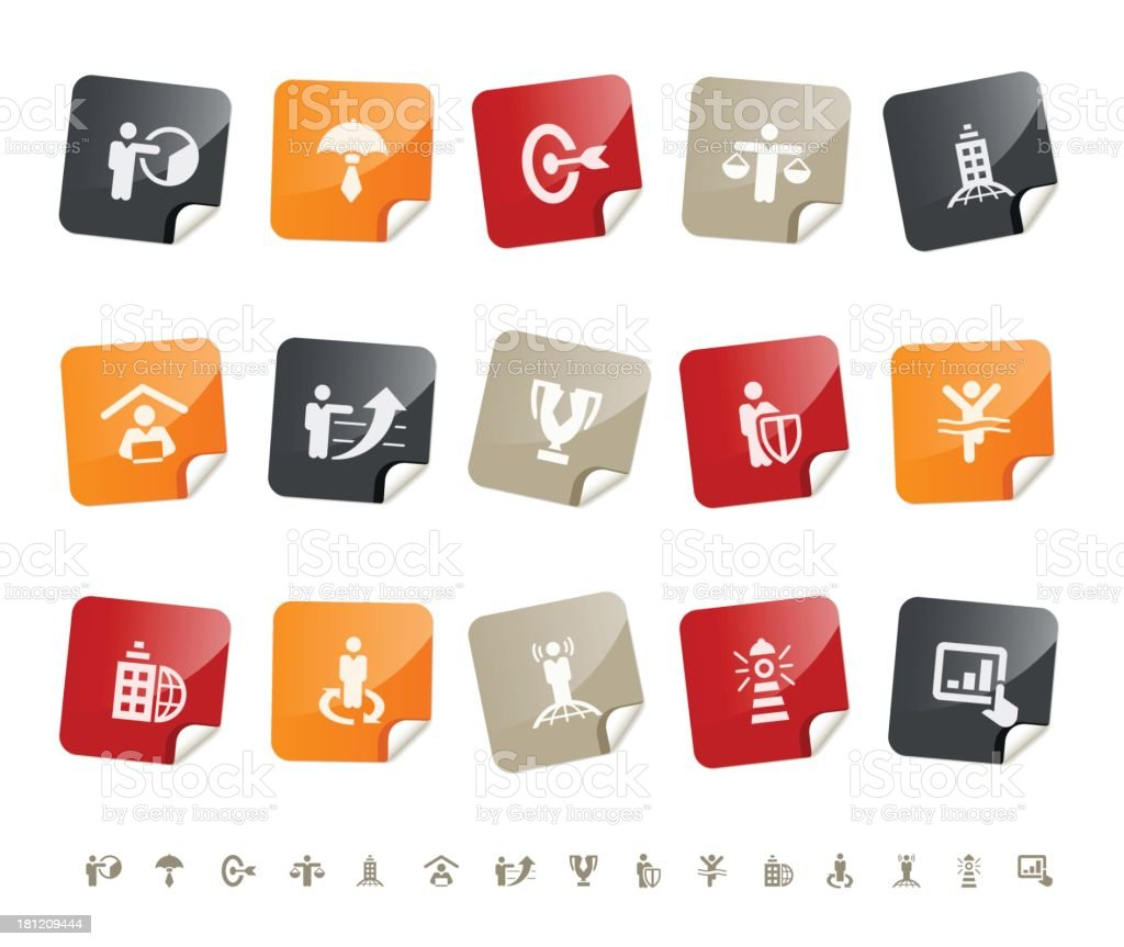 Business metaphor icons | sticky series royalty-free stock vector art