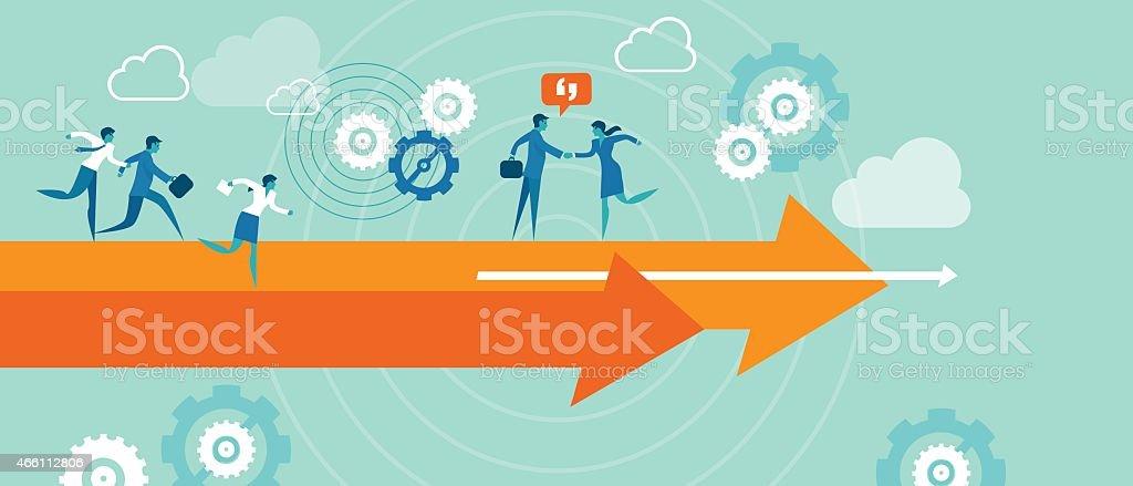 Business metaphor teamwork vector art illustration