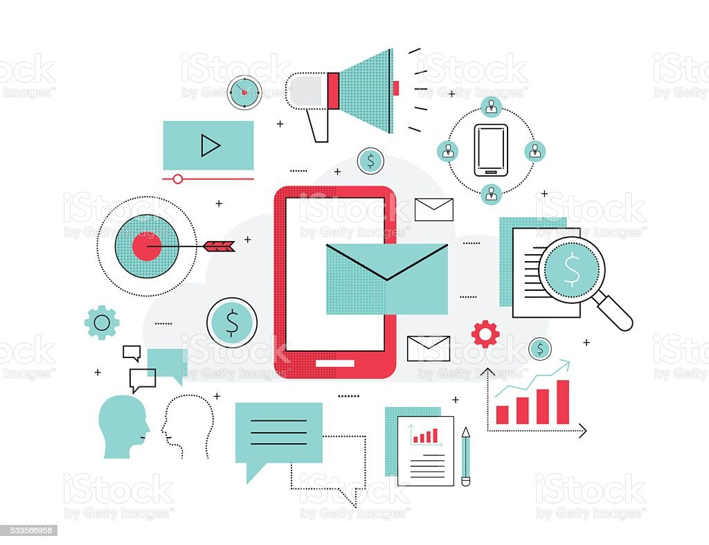 business mobile marketing online concept vector art illustration
