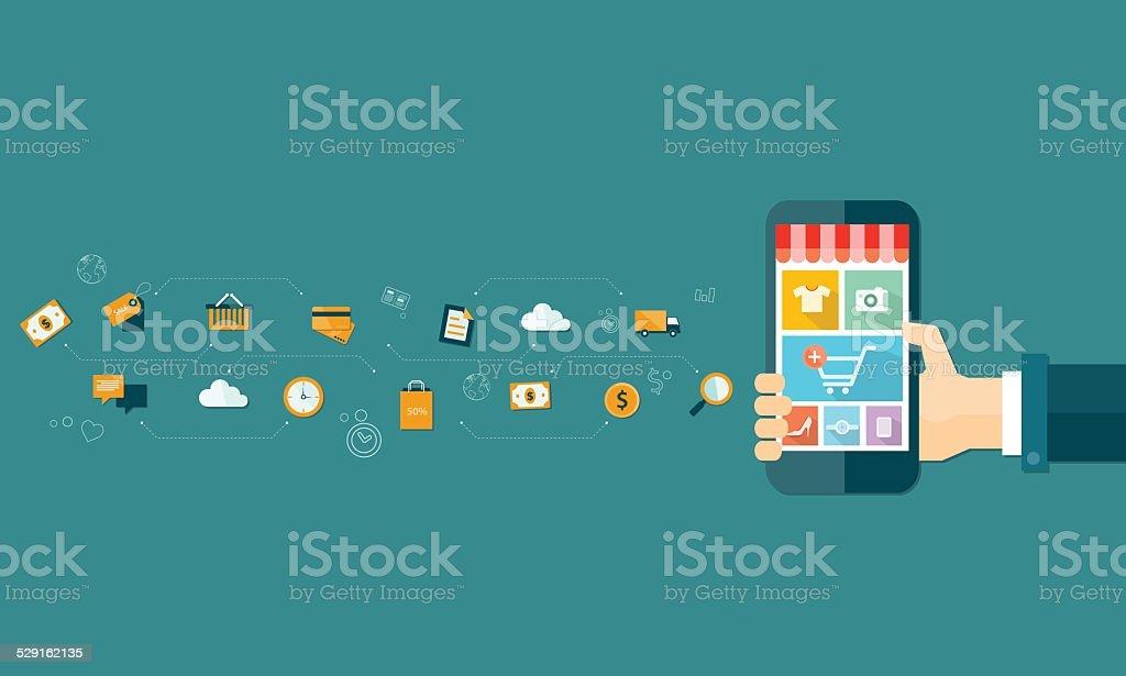 business mobile online shopping and e-marketing on mobile vector art illustration
