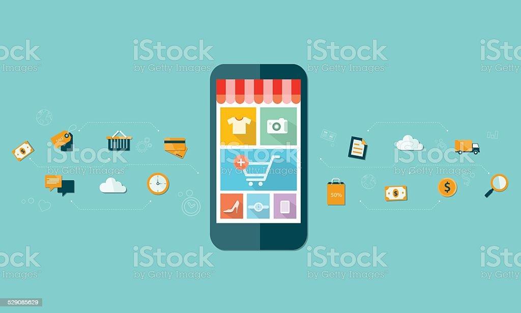 business mobile online shopping on mobile device background vector art illustration