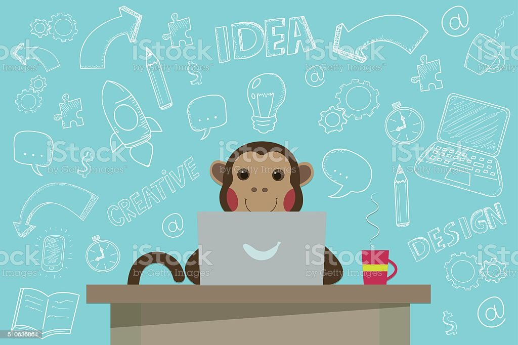 Business Monkey with handdrawn Doodles. Vector illustration. royalty-free stock vector art
