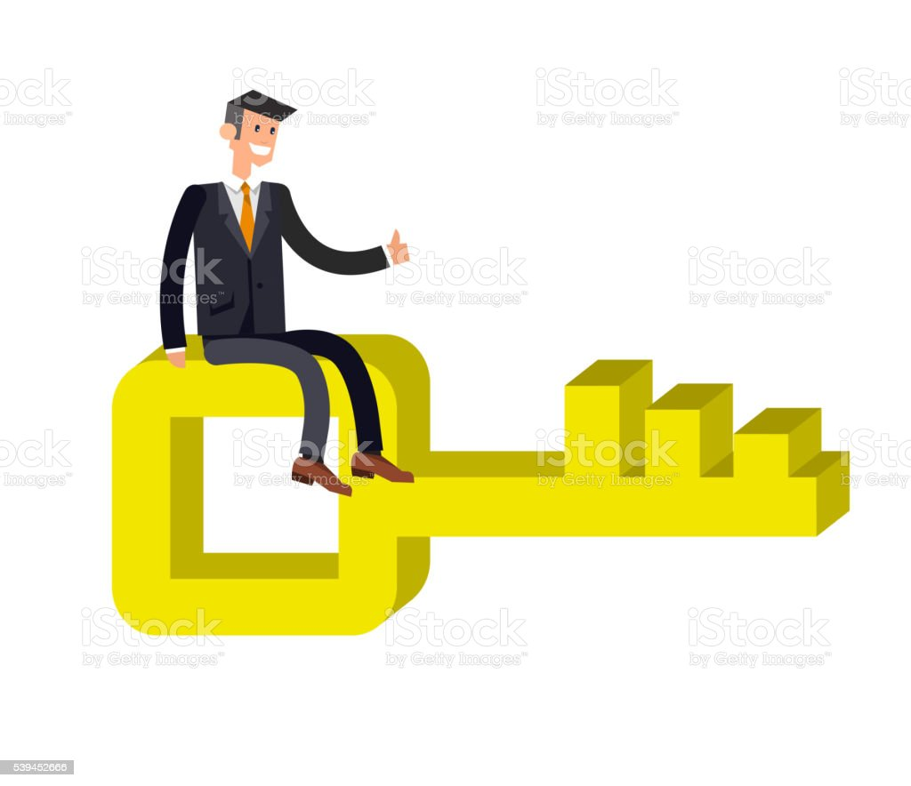 Business movement towards solution concept vector art illustration