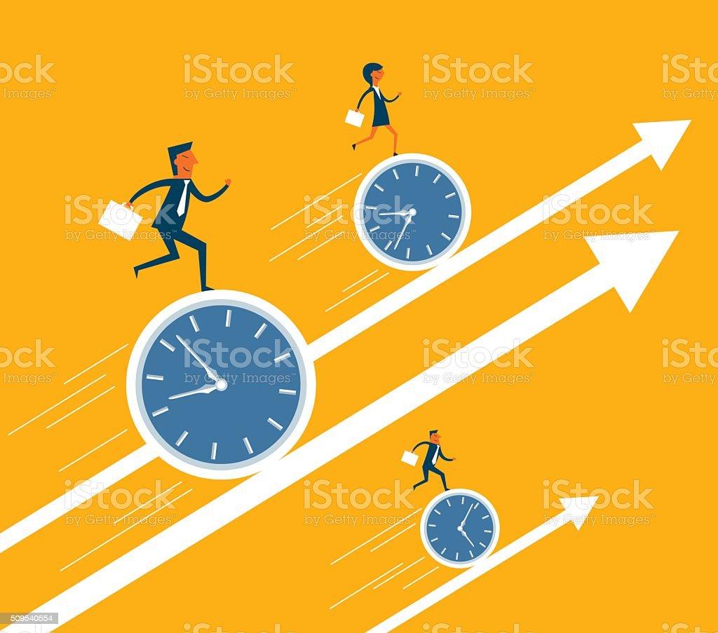 Business Moving Up vector art illustration