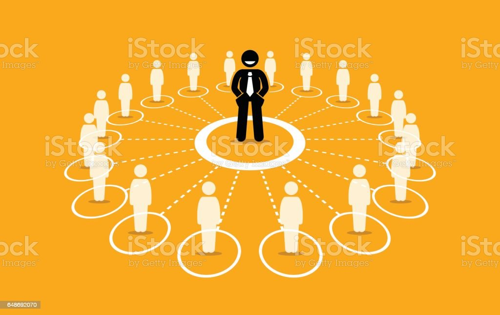 Business network and communication. vector art illustration