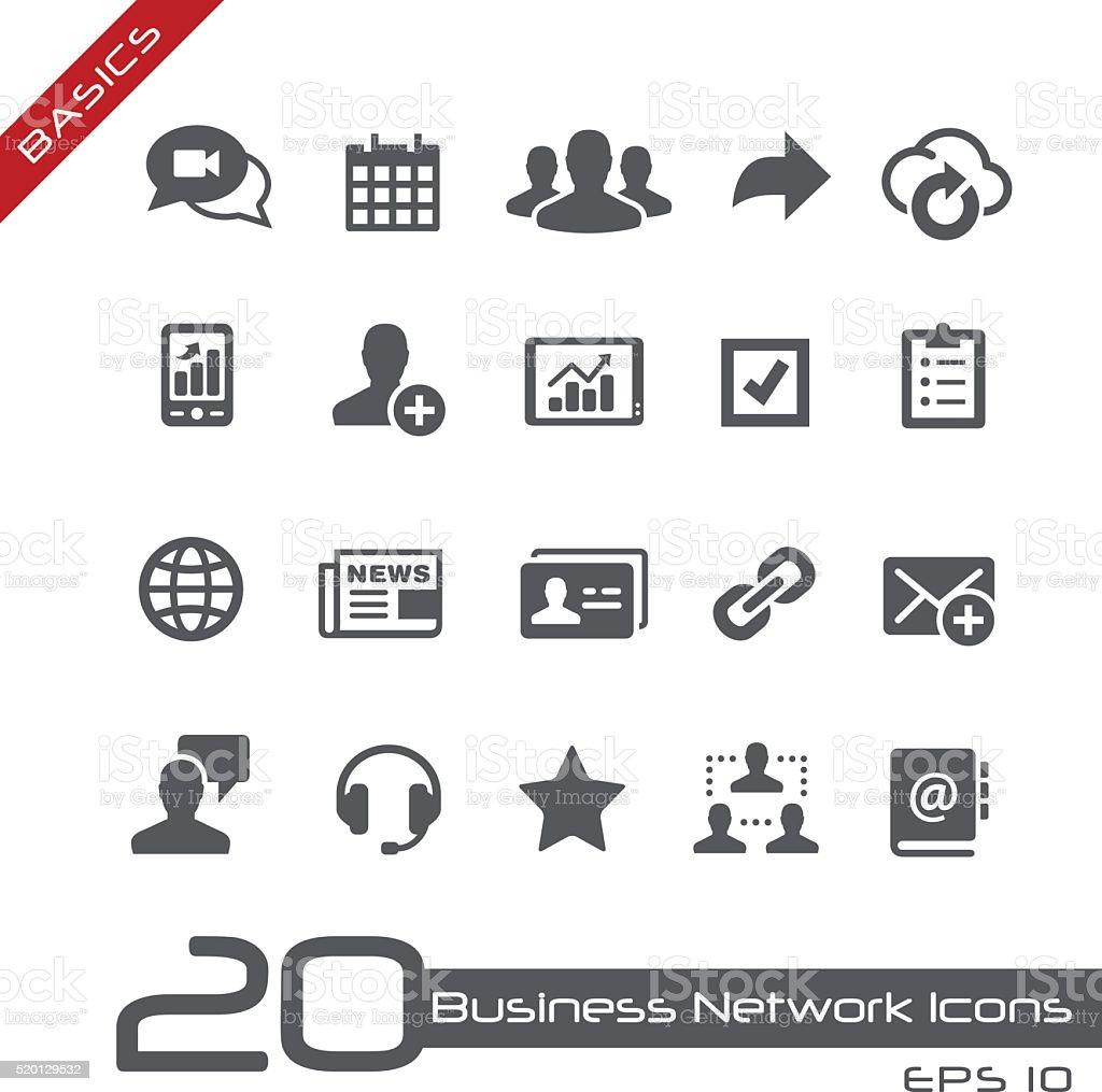 Business Network Icons // Basics vector art illustration