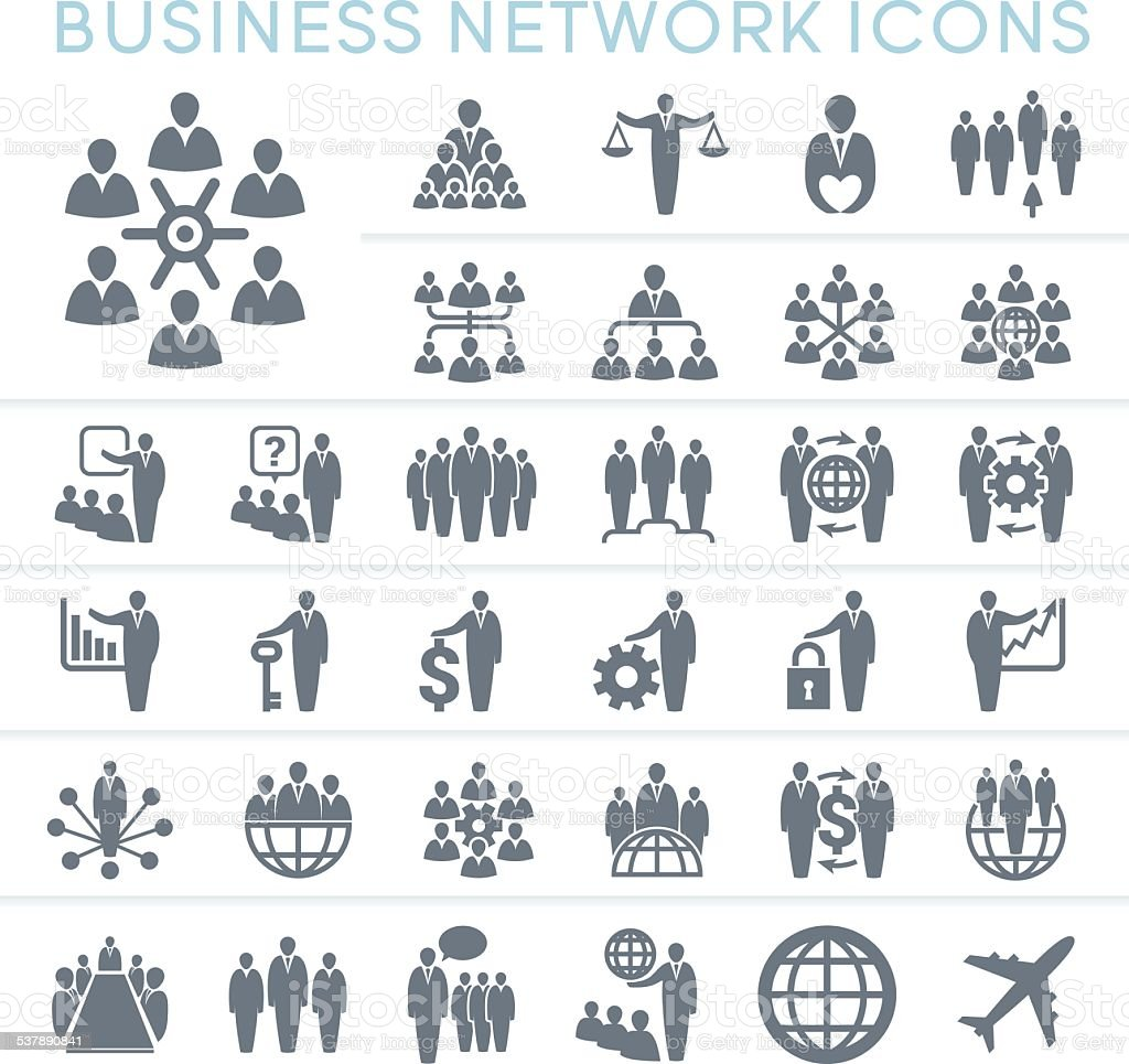 Business Network Icons vector art illustration