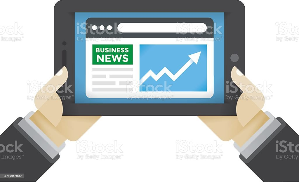 Business News on internet tablet royalty-free stock vector art