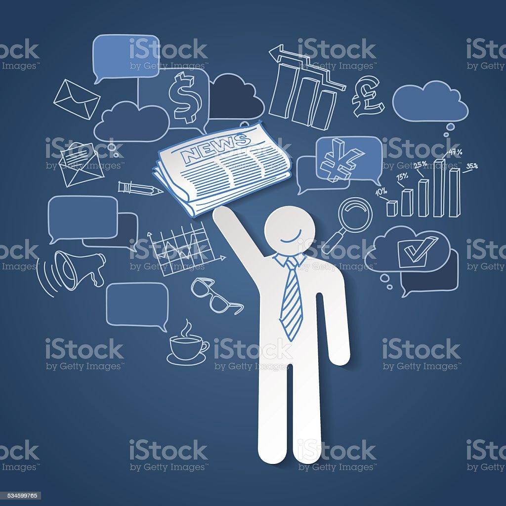 Notícias de negócios líder de equipe vetor de comunicação e trabalho em equipe vetor e ilustração royalty-free royalty-free