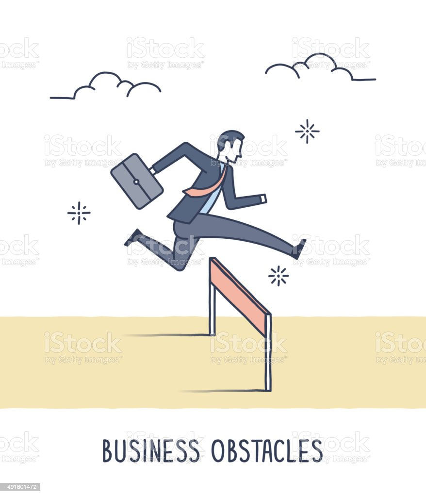 Business Obstacles vector art illustration