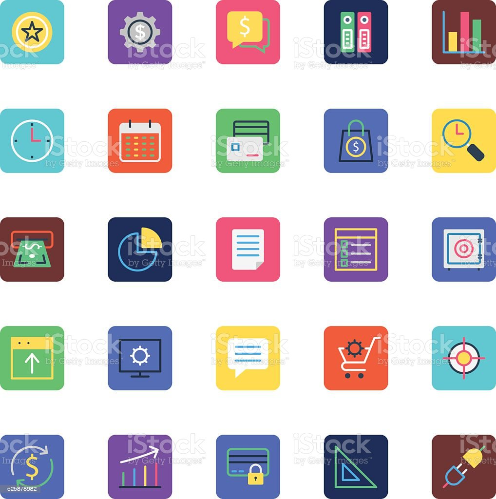 Business, Office and Marketing Colored Vector Icons 2 vector art illustration