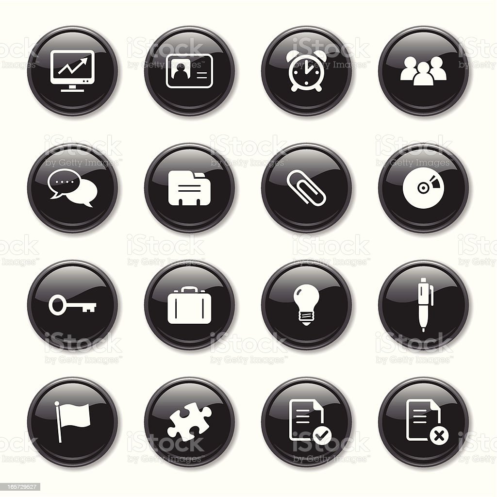 Business & Office Glossy Icons Set royalty-free stock vector art