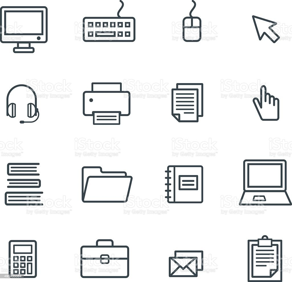 Business Office Icon Set . Vector vector art illustration