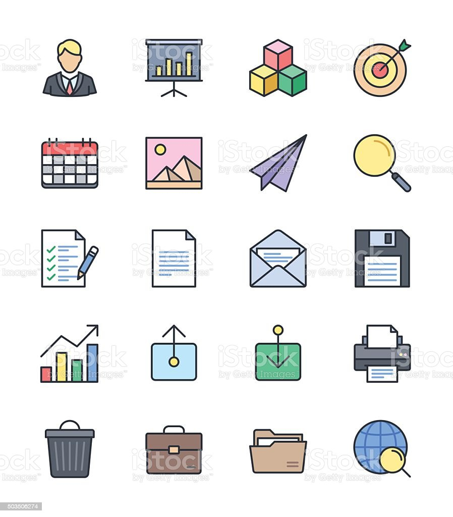 Business & Office icons, Color set 1 - Vector Illustration vector art illustration