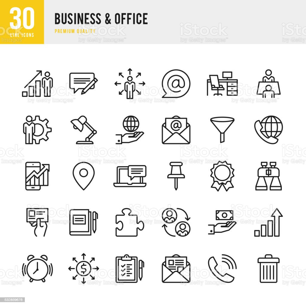 Business & Office - Thin Line Icon Set royalty-free stock vector art